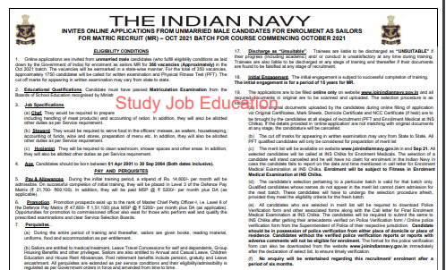 Indian Navy Sailor Bharti 2021: Apply Online for MR, Download Notification @joinindiannavy.gov.in